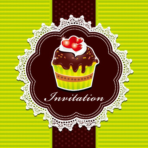 Cute Cupcakes Invitations cards vector set 01