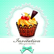 Link toCute cupcakes invitations cards vector set 02