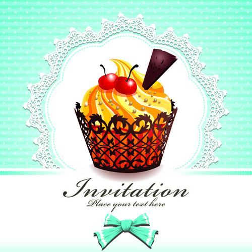 Cute Cupcakes Invitations cards vector set 02