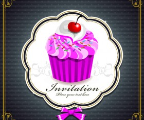 Cute Cupcakes Invitations cards vector set 03