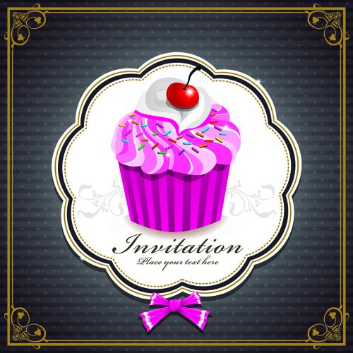 Cute Cupcakes Invitations cards vector set 03
