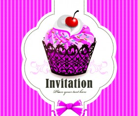 Cute Cupcakes Invitations cards vector set 04