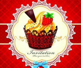 Cute Cupcakes Invitations cards vector set 05