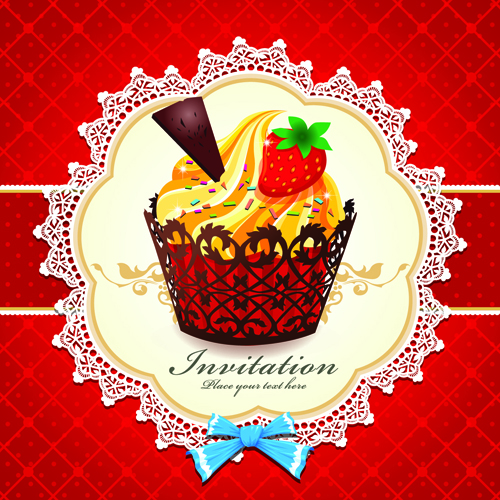 Cute Cupcakes Invitations cards vector set 05