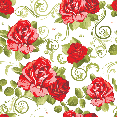Vivid Flower patterns design elements vector 02