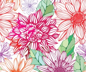 Vivid Flower patterns design elements vector 04