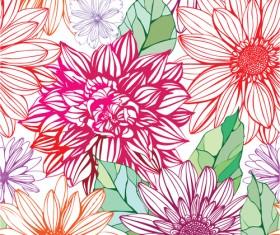 Vivid Flower patterns design elements vector 04