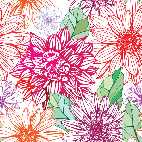 vivid flower patterns design elements vector 04 vector