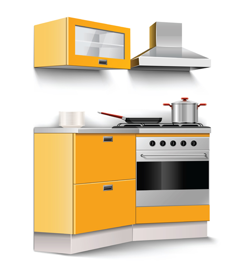 Cartoon Kitchen Furniture: Set Of Kitchen Furniture Design Elements Vector 01 Free