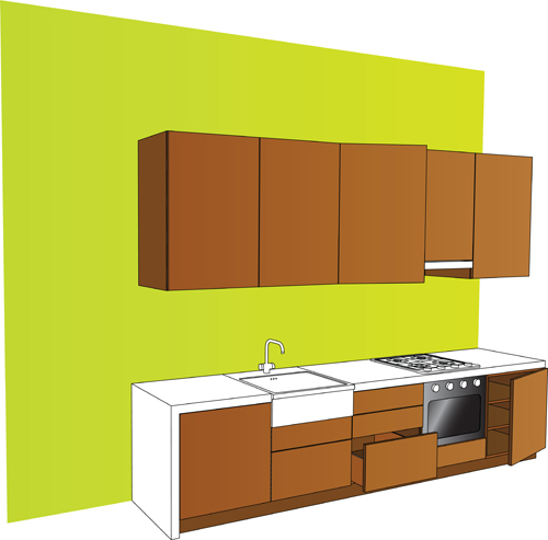 Set Of Kitchen Furniture Design Elements Vector Vector Life