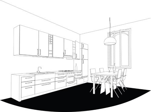 Set of Kitchen Furniture design elements vector 04