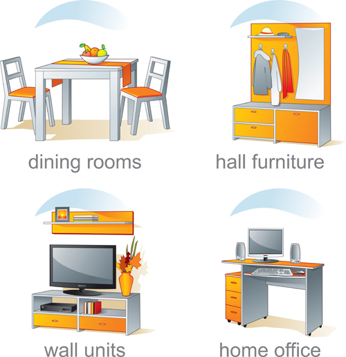 Set Of Kitchen Furniture Design Elements Vector 05
