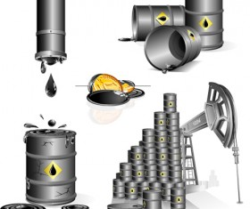 Set of Gas and oil design elements vector 04