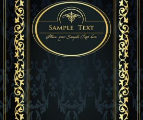 Gold lace frame vector set 04