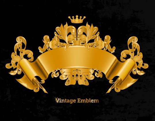 Golden emblem and frames Decorative elements vector 02