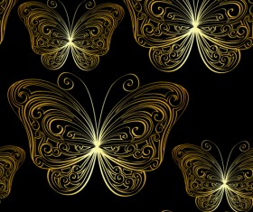 Hand drawn golden Butterfly vector