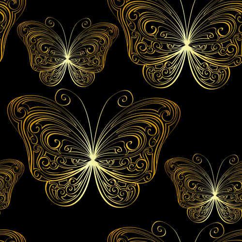 Hand Drawn Golden Butterfly Vector Free Download