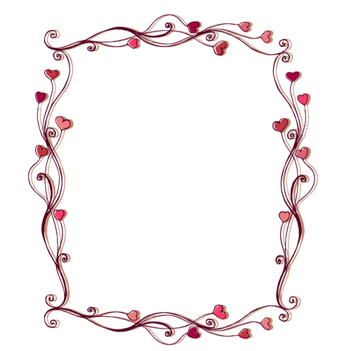 Set of Heart frame vector material 02