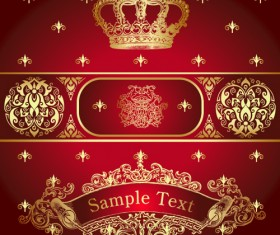 luxurious Royal labels vector material 02