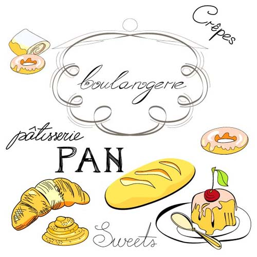 Hand drawn Illustrations Food elements vector 01