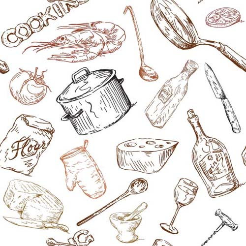 Hand drawn Illustrations Food elements vector 03