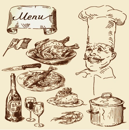 Hand drawn vintage food Illustrations vector 01