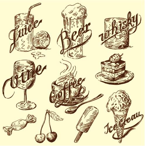 Hand Drawn Vintage Food Illustrations Vector 03 Vector