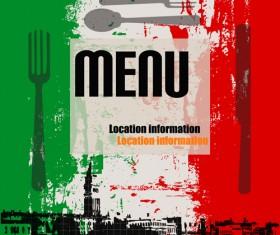 Retro Italian Menu design vector set 01