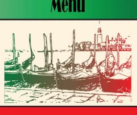Retro Italian Menu design vector set 03