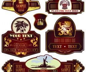 luxurious Label bottle of wine design vector 02