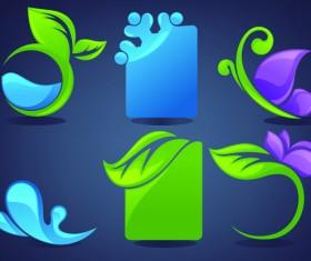 Crystal texture Leaf logo vector 01