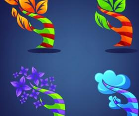 Crystal texture Leaf logo vector 02
