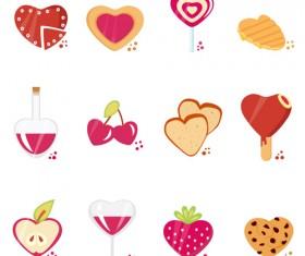 Set of Love theme icon mix vector 01