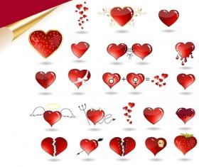 Set of Love theme icon mix vector 02