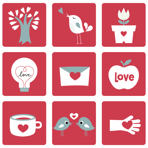 Set of Love theme icon mix vector 03
