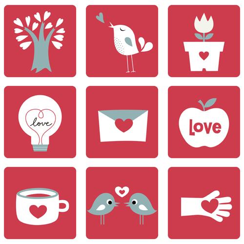 Set of Love theme icon mix vector 03