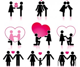 Set of Love theme icon mix vector 04