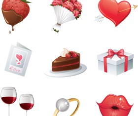 Set of Love theme icon mix vector 05