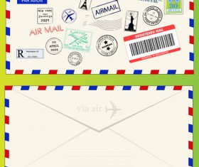 Vector Mail envelope elements set 05