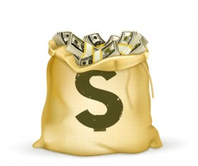Sack with Money design vector graphics set 01