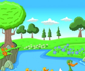 Beautiful Nature landscape lake vector graphics 04