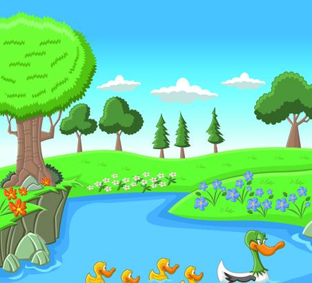 Beautiful Nature landscape lake vector graphics 04