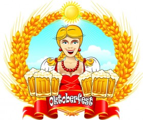 Set of Oktoberfest Girl Vector graphic 02