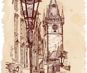Set of Old Town Prague elements vector graphics 01