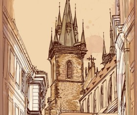 Set of Old Town Prague elements vector graphics 02