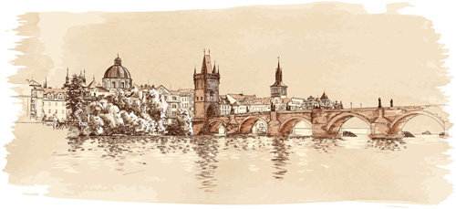 Set of Old Town Prague elements vector graphics 03