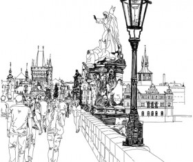 Set of Old Town Prague elements vector graphics 05