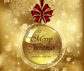 Ornate Golden Christmas cards vector graphics 02
