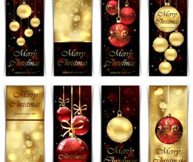 Ornate Golden Christmas cards vector graphics 03