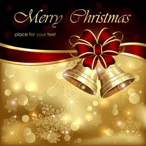 Download Christmas Cards.Ornate Golden Christmas Cards Vector Graphics 04 Free Download